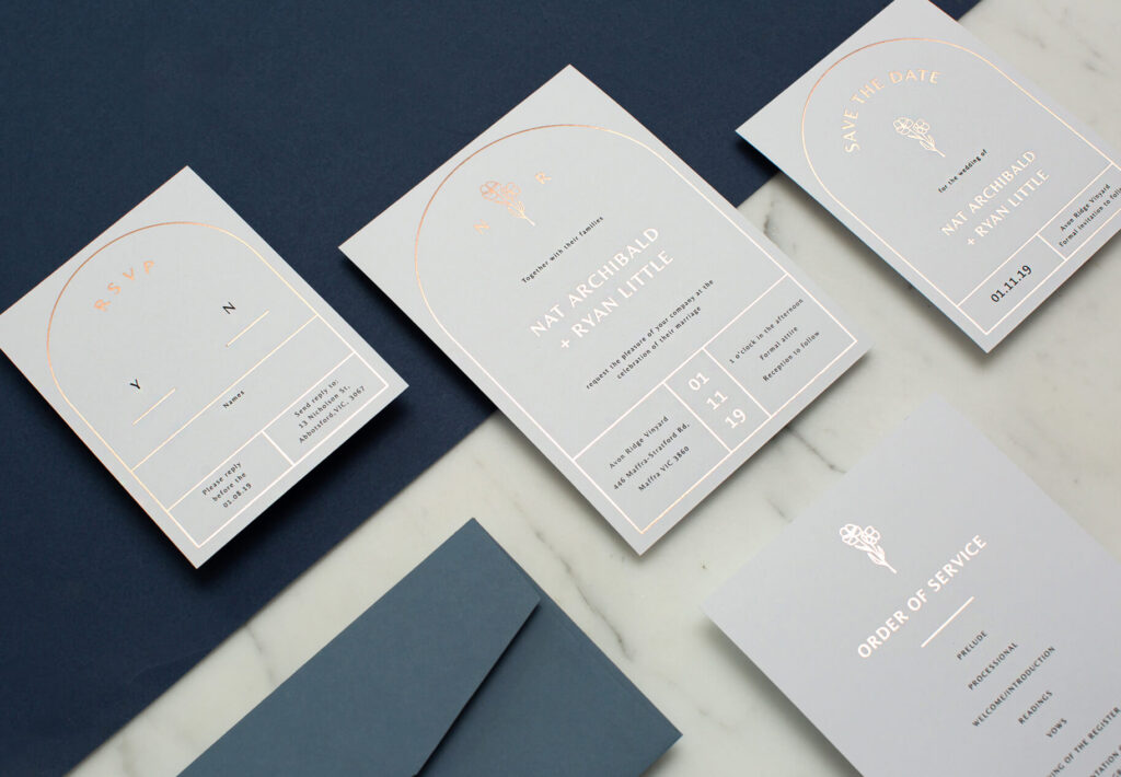 hot foiled wedding invitations